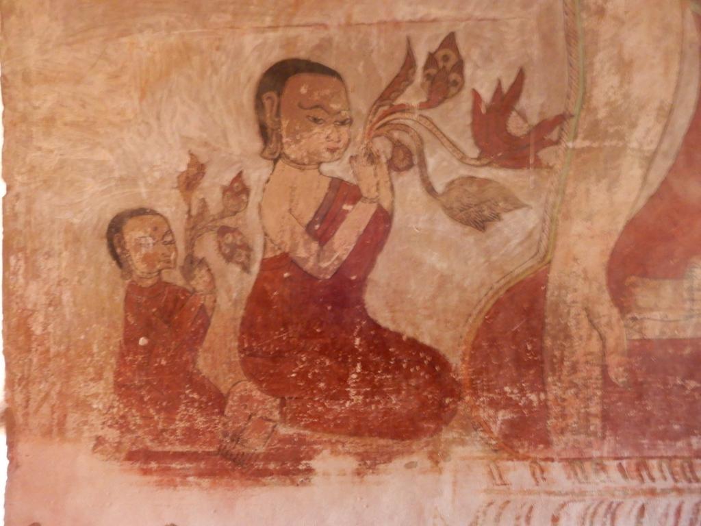 peinture murale offrandes de fleur de lotus Pagan